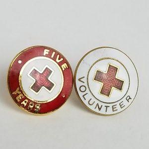Vintage Red Cross Volunteer Lapel Pins ARC